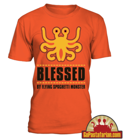 Blessed by Flying Spaghetti monster   Pastafarian T shirt