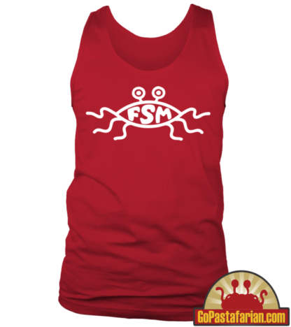 Flying Spaghetti Monster church sign on Pastafarian Tank tops