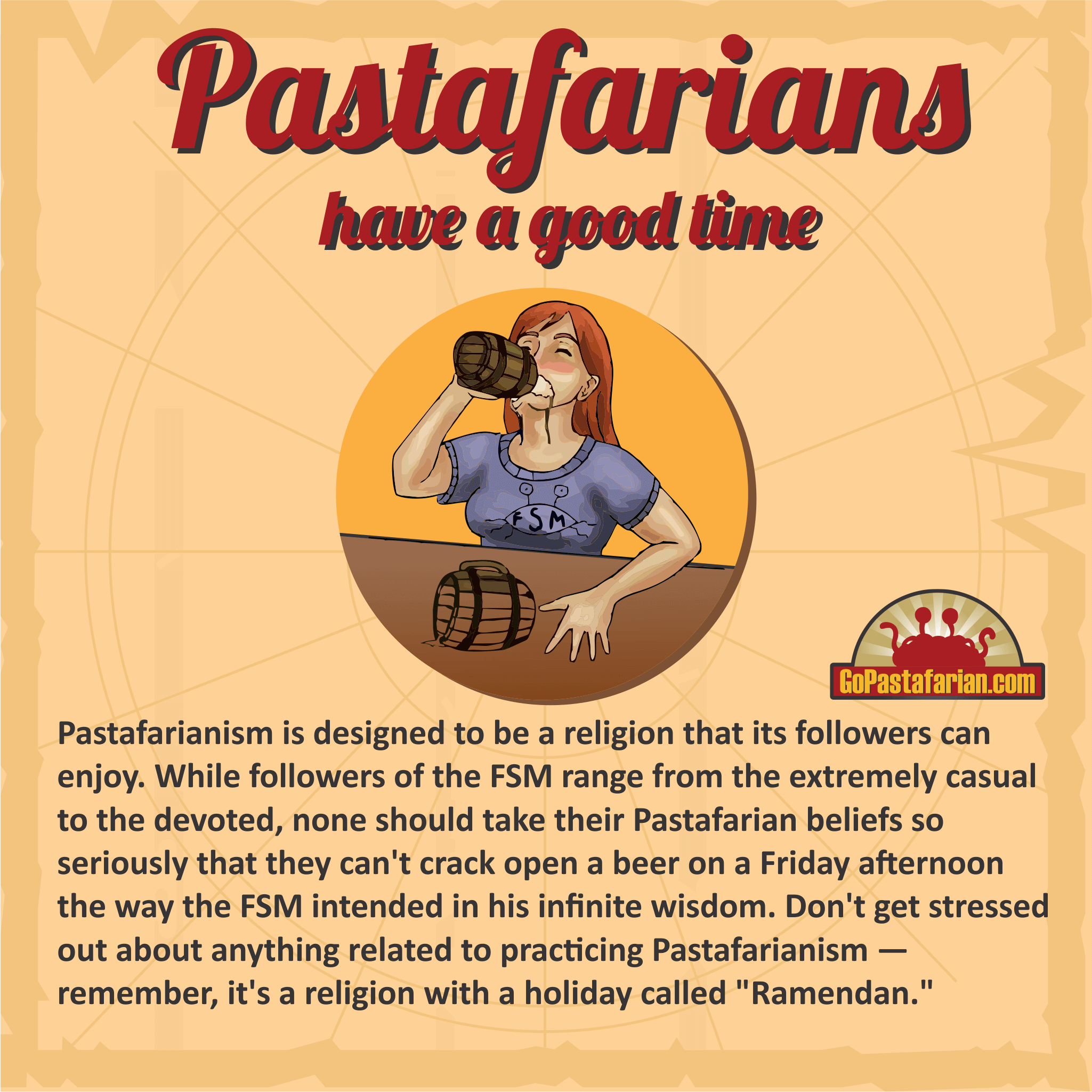 Pastafarians drinking beer and enjoying their religion Pastafarianism