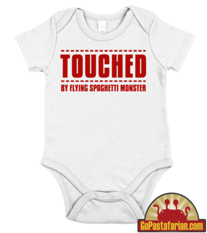 Touched by Flying Spaghetti monster   Pastafarian baby body