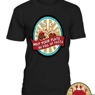 Colorful Pastafarian T shirts   He boiled for our sins