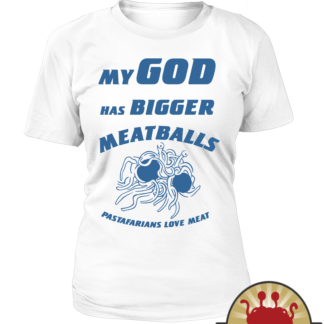Flying Spaghetti Monster church sign on Pastafarian T shirts women