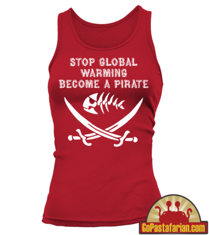 Stop Global Warming Become a Pirate   Pastafarian tank tops women